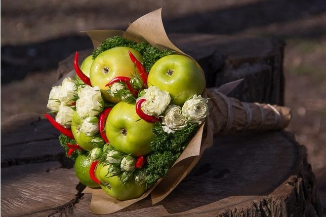Букет цветов из фруктов своими руками